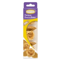 16 pcs Marzipan roses with leaves, gold
