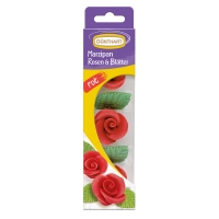 16 pcs Marzipan roses with leaves, red