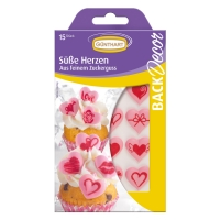 15 pcs Sugar hearts with heart print