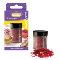 6 pcs Glitter flocks, ruby |sugar free