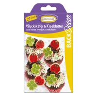 Ladybirds and leaves, white chocolate