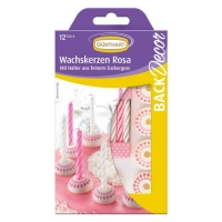 Sugar candle holders with candles, white-pink