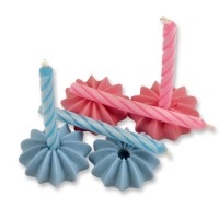 120 pcs Sugar candle holders and candles, blue andpink