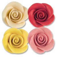 24 pcs Large marzipan roses, white, red, yellow, pink