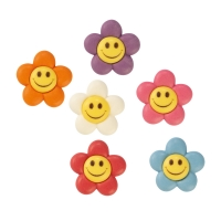 96 pcs Sugar flowers with faces, asstd.