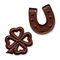 Chocolate horseshoes and clover leafs
