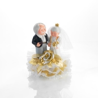1 pcs Golden wedding couple, porcelain