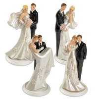 4 pcs Polyresin wedding couple top on basis, small