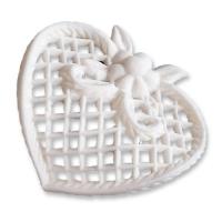 9 pcs Filigree heart, white, lage