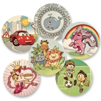12 pcs Sugar coating plaques child motivs