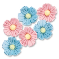 Large sugar flowers, blue and pink