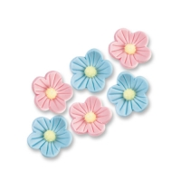 Small sugar flowers, blue and pink
