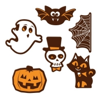 72 pcs Halloween plaques, dark chocolate, assorted