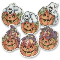 100 pcs Sugar coating plaques for Halloween, assorted