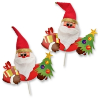 Chenille Santa on stick, with red and gold trees
