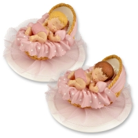 Polyresin-top, baby in basket, pink