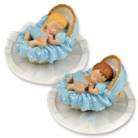 Polyresin-top, baby in basket, blue