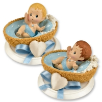 Small polyresin-top, baby in basket, blue