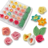 80 pcs Marzipan flowers and leaves