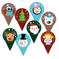 120 pcs Card decoration  Christmas , printed both-sided