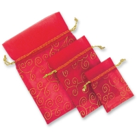Organza gift bag, red, empty