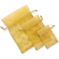 Organza gift bag, gold, empty