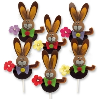 100 pcs Easter bunnies on stick brown