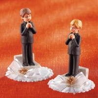 "Polyresine communion top ""Boys"", praying and with book"