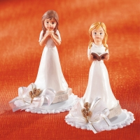 4 pcs Polyresine communion top  Girls , praying and with book