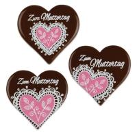 30 pcs Heart  Zum Muttertag , dark chocolate
