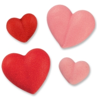 Small & large sugar hearts, red & pink