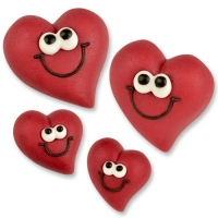 36 pcs Marzipan heart faces, red, big and small