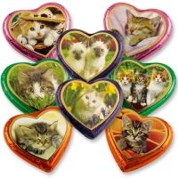 40 pcs Large Chocolate Hearts   Cats