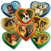 40 pcs Large Chocolate Hearts   Dogs