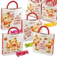 16 pcs Emotion bags  bears  with sayings, with chewy sweets