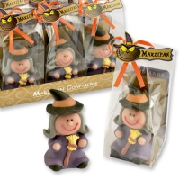 12 pcs Marzipan witch in cellophan bag and tray