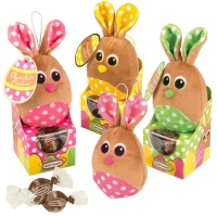 12 pcs Plush bunny on box filled with pralines, assorted