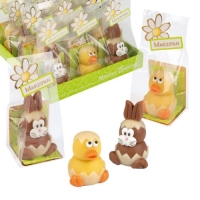 Marzipan rabbit and duck in cellophane bag