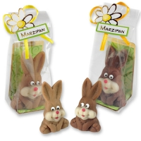 Marzipan rabbit in cellophane bag, assorted