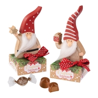 Wooden Santa on box, asstd.