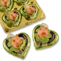 Polyresin-lucky pig on praline heart