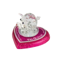 16 pcs Crystal Glass piglet on praline heart
