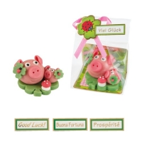 16 pcs Lucky pig with piglet on clover leaf