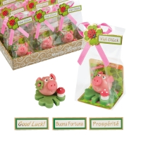 24 pcs Lucky marzipan piglet on clover leaf, small
