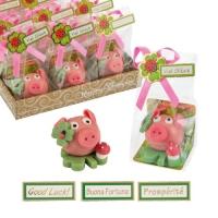 24 pcs Lucky pig on clover, medium