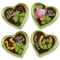 40 pcs Large chocolate heart  Good Luck . assorted