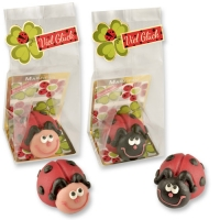 Marzipan ladybirds in cellophan bag and tray