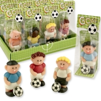 Marzipan footballer in cellophan bag and tray, assorted