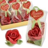 Marzipan rose red, large, in cellophan bag and tray