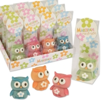 AUSVERKAUFT!Marzipan owls in cellophane bag and tray, assorted